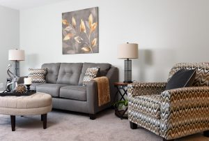 Vacant HomeVacant Home Staging of Living Room, Downingtown, PA with furniture and accessories by Organized by Design