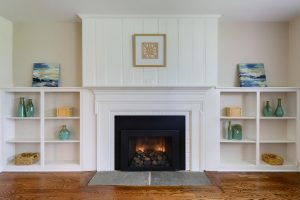 Vacant Home Staging of Living Room Built-in-bookcases www.Organized-by-Design.biz