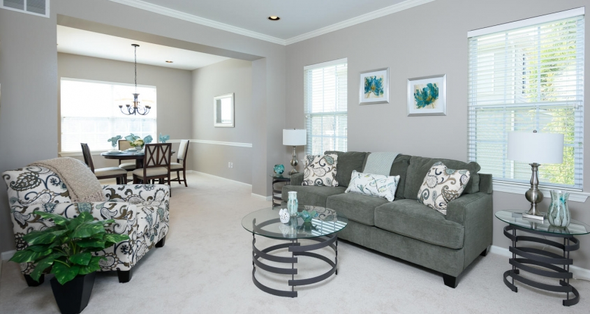 Vacant Home Staging Living Room Dining Room www.Organized-by-Design.biz