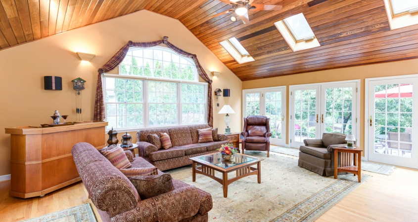 Family Room Cedar Ceiling Installation Redesign by Organized by Design