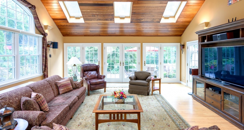Family Room cedar ceiling installation redesign home makeover by Organized by Design