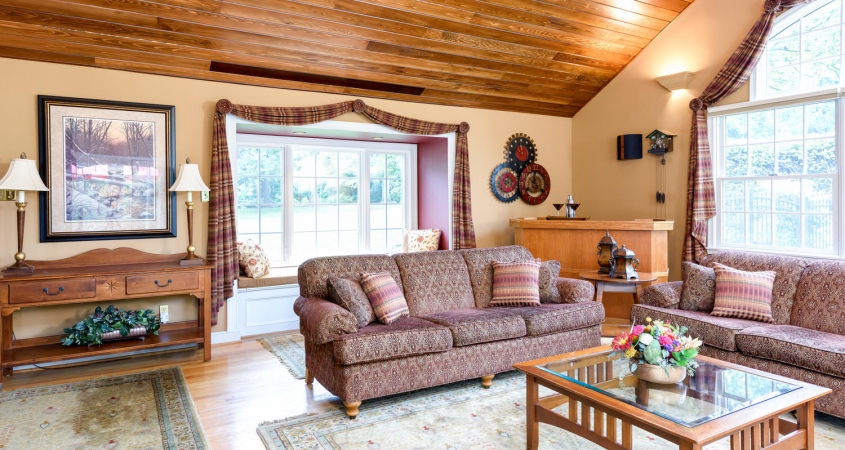 Family Room cedar ceiling installation bump out window redesign home makeover by Organized by Design