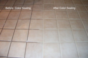 Home Makeover Color Change of Grout in Tile Floor