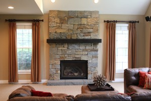 Family Room Stacked Stone Gas Fireplace Makeover www.Organized-by-Design.biz