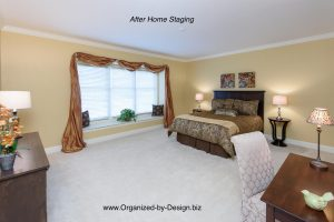 Master Bedroom staged with furniture and accessories by Organized by Design