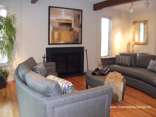 Living Room staged by Organized by Design