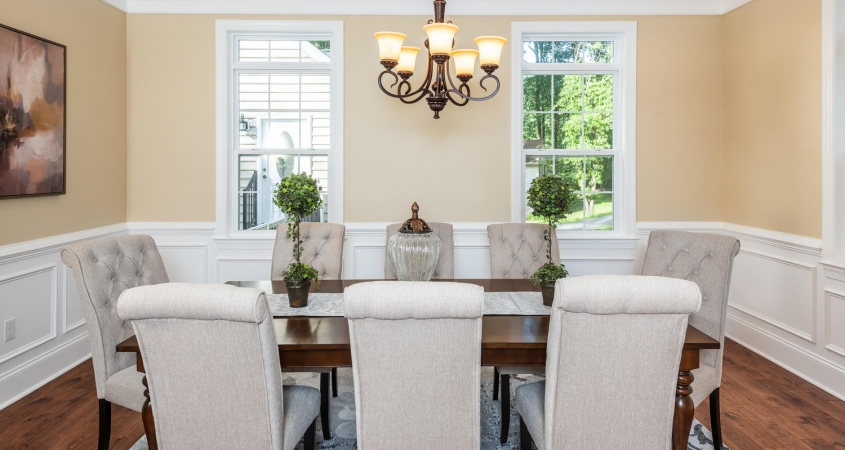 Dining Room staged with furniture and accessories by Organized by Design