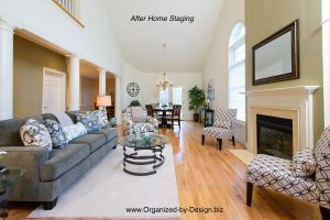 Home Staging of vacant living room dining room with furniture and accessories by Organized by Design