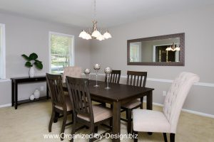 Dining Room staged with furniture and accessories by Organized by Design.biz