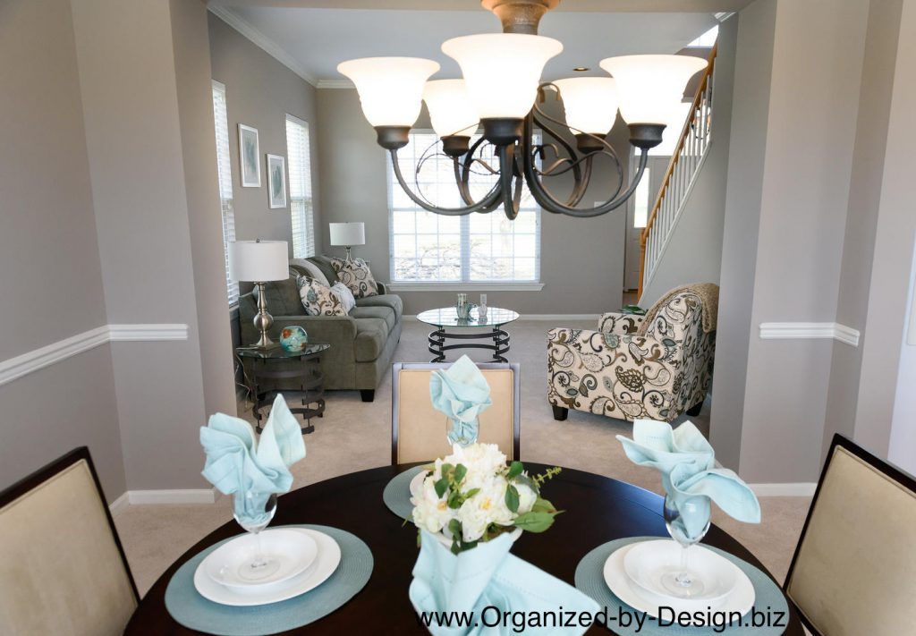 Dining Room Close Up staged with furnitures and accessories by Organized by Design