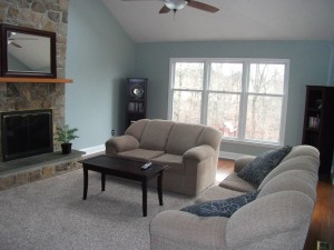 Organized Family Room shown neat and uncluttered